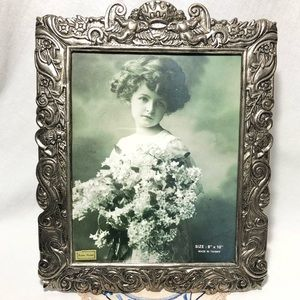 Silver Plated 8x10 Photo Picture Frame Angels Victorian Style